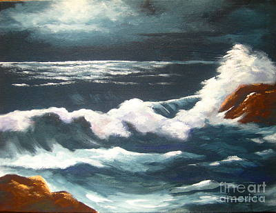 Moonlight  Tide Art Print by Shasta Eone