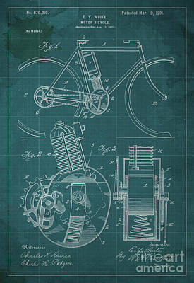 Cars Drawing - Motor Bicycle Patent Year 1901 by Pablo Franchi