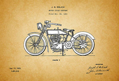 20th Digital Art - Motor Cycle Support Patent - Patent Drawing For The 1921 J.s. Eslick Motor Cycle Support by Jose Elias - Sofia Pereira