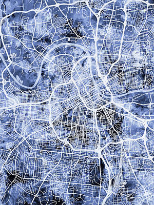 Digital Art - Nashville Tennessee City Map by Michael Tompsett