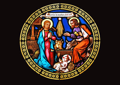 Painting - Nativity Stained Glass by Munir Alawi