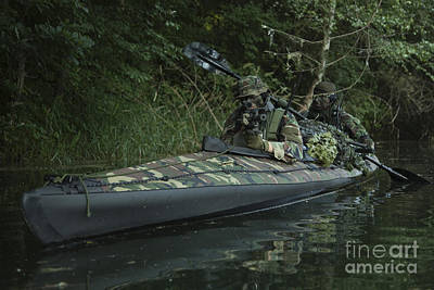 Special Operations Photograph - Navy Seals Navigate The Waters by Tom Weber