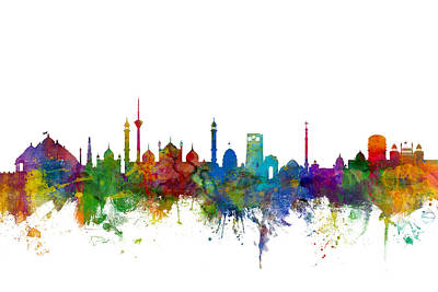 Silhouette Digital Art - New Delhi India Skyline by Michael Tompsett