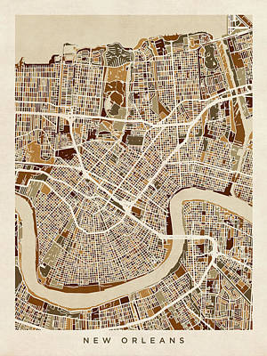 Louisiana Digital Art - New Orleans Street Map by Michael Tompsett