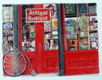 Tiffany Drawing - Antique Boutique, E. Cary St., Richmond, Va by Kathy Crockett
