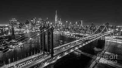 New York City, Manhattan Bridge At Night Art Print