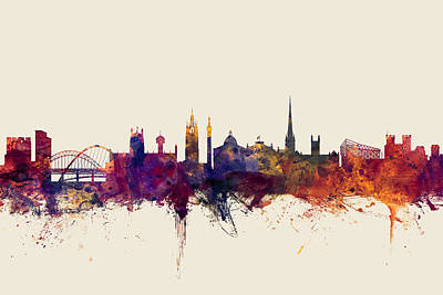 Great Britain Digital Art - Newcastle England Skyline by Michael Tompsett