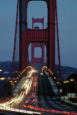 Photograph - Night Traffic On Golden Gate Bridge by Carl Purcell
