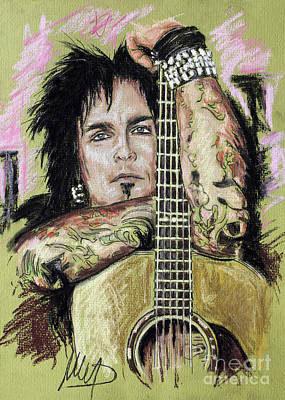 Bassist Drawing - Nikki Sixx by Melanie D