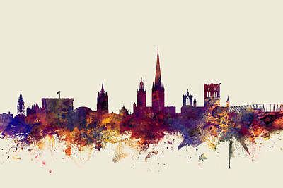 Norfolk Wall Art - Digital Art - Norwich England Skyline by Michael Tompsett