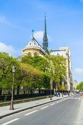 Photograph - Notre Dame Cathedral Paris Streetside by Nila Newsom