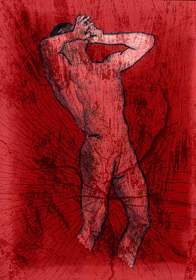 Nude Man Art Print by Miley Art