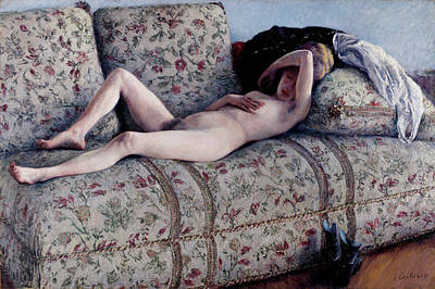 Awkward Wall Art - Painting - Nude On A Couch by Gustave Caillebotte