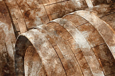 Wine Cellar Photograph - Oak Wine Barrel Close Up by Brandon Bourdages