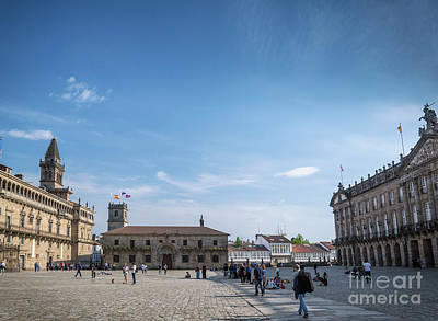 Photograph - old town Obradoiro Square near santiago de compostela cathedral  by Jacek Malipan