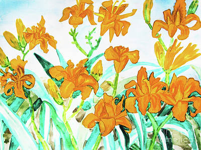 Painting - Orange Daily Lilies by Irina Afonskaya