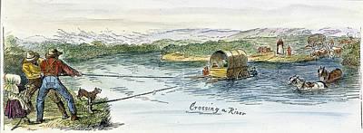 Oregon Trail Emigrants Print by Granger