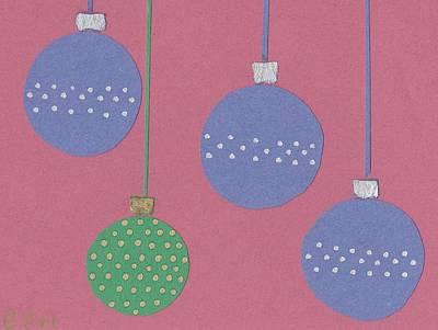 Bling Mixed Media - 4 Ornaments by Ellen Jenny Watkins