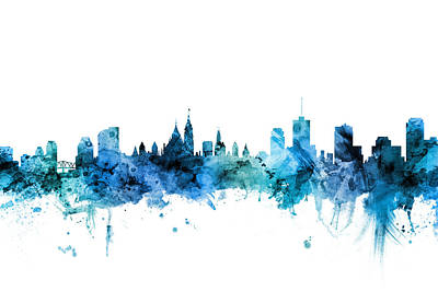 Digital Art - Ottawa Canada Skyline by Michael Tompsett