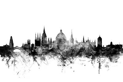 England Digital Art - Oxford England Skyline by Michael Tompsett