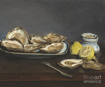Manet Painting - Oysters by Edouard Manet