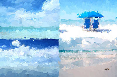 Abstract Seascape Mixed Media - 4 Panel Abstract Beach 2 by Anthony Fishburne