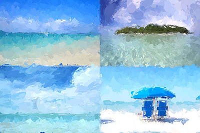 Mixed Media - 4 Panel Abstract Beach by Anthony Fishburne