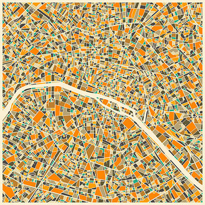 Paris Digital Art - Paris Map by Jazzberry Blue