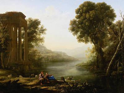 Ruin Painting - Pastoral Landscape by Claude Lorrain