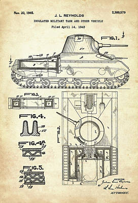 Drawing Digital Art - Patent Drawing For The 1943 Insulated Military Tank And Other Vehicle By J. L. Reynolds by Jose Elias - Sofia Pereira