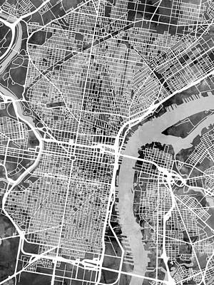 Street Digital Art - Philadelphia Pennsylvania Street Map by Michael Tompsett