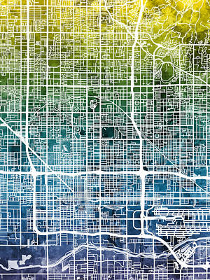 Phoenix Digital Art - Phoenix Arizona City Map by Michael Tompsett