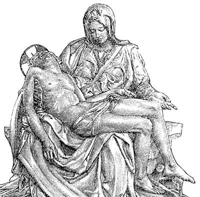 Christianity Drawing - Pieta by Michelangelo