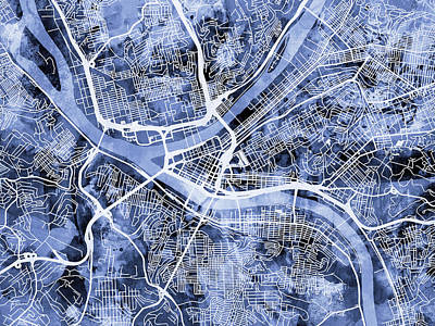 Pennsylvania Digital Art - Pittsburgh Pennsylvania Street Map by Michael Tompsett