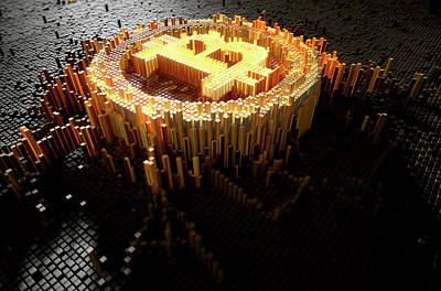 Virtual Digital Art - Pixel Bitcoin Concept by Allan Swart