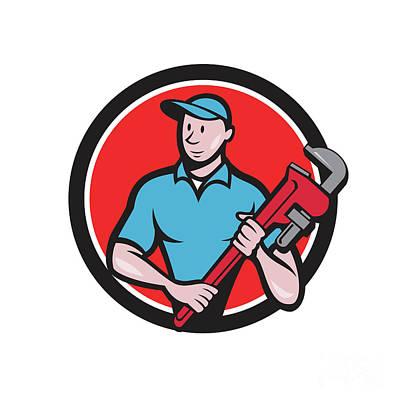 Tradesman Digital Art - Plumber Holding Monkey Wrench Circle Cartoon by Aloysius Patrimonio
