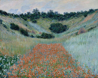 Poppies Artwork Painting - Poppy Field In A Hollow Near Giverny by Claude Monet