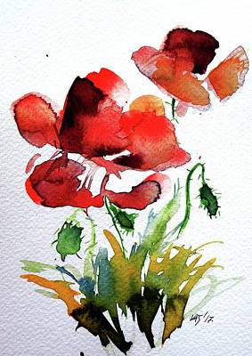 Poppies Field Painting - Poppy by Kovacs Anna Brigitta