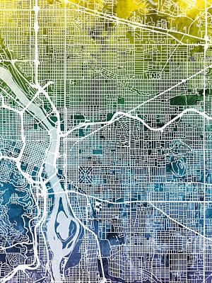 Digital Art - Portland Oregon City Map by Michael Tompsett