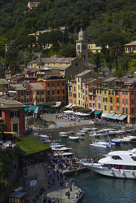 Portofino In The Italian Riviera In Liguria Italy Print by David Smith