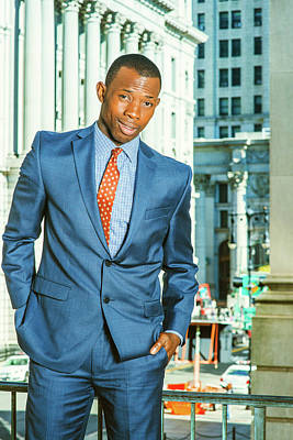 Photograph - Portrait Of Young African American Businessman In New York by Alexander Image