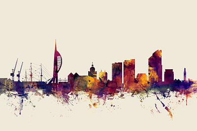 England Digital Art - Portsmouth England Skyline by Michael Tompsett