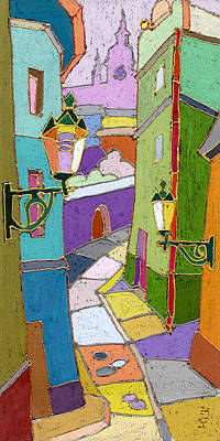 Pastel Colors Painting - Prague Old Street by Yuriy  Shevchuk