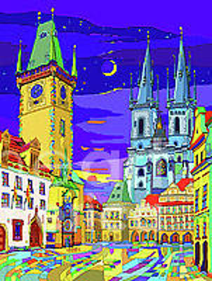 Mixed Media - Prague Old Town Square by Yuriy  Shevchuk