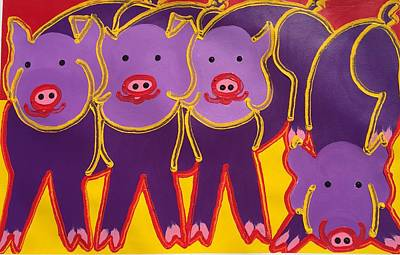Painting - 4 Purple Pigs by Matthew Brzostoski