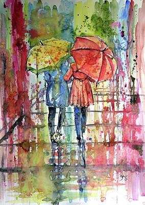 Painting - Raining by Kovacs Anna Brigitta