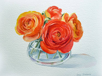 Art Glass Painting - Ranunculus by Irina Sztukowski
