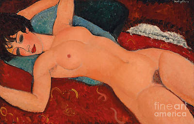 Reclining Nude Art Print by Amedeo Modigliani
