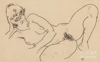 Model Drawing - Reclining Nude by Egon Schiele
