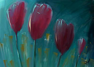 Digital Art - Red Tulips by Jim Vance